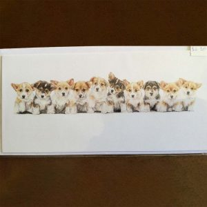 Greeting card with Corgi puppies