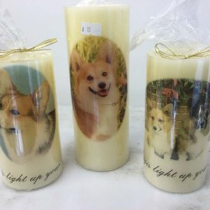 Candles with images of Corgis