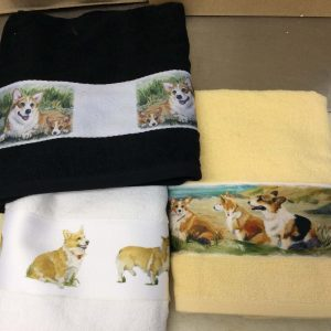 Hand towels with Corgi illustrations