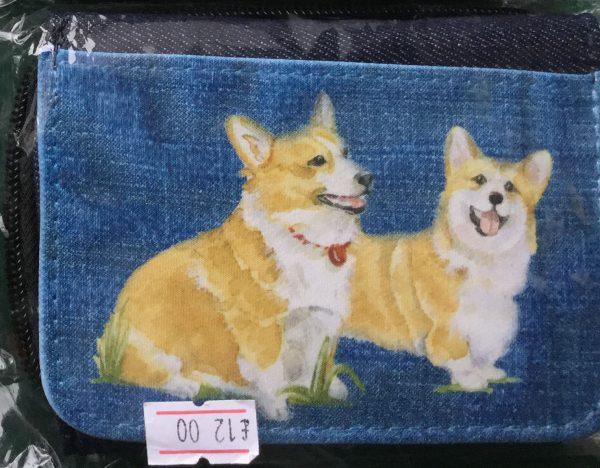 Denim purse with illustration of 2 corgis
