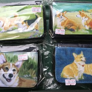Denim purse with illustrations of corgis