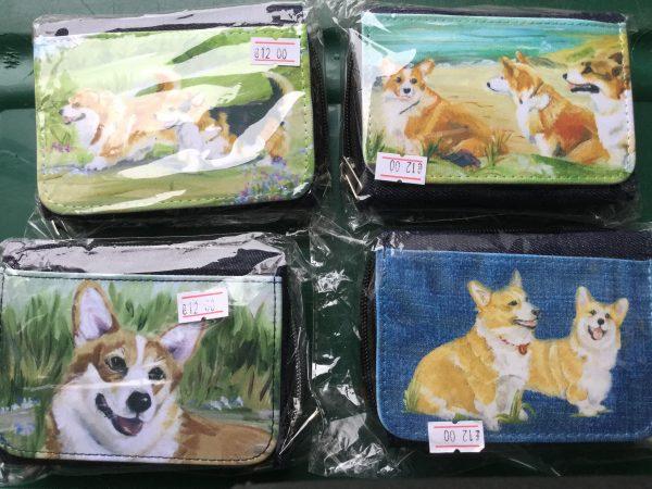 Denim purse with illustrations of corgis