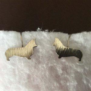Silver Corgi Earrings