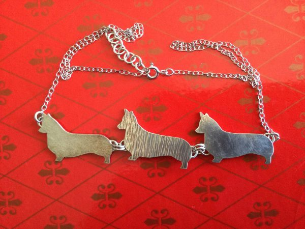 Silver necklace with 3 Corgis
