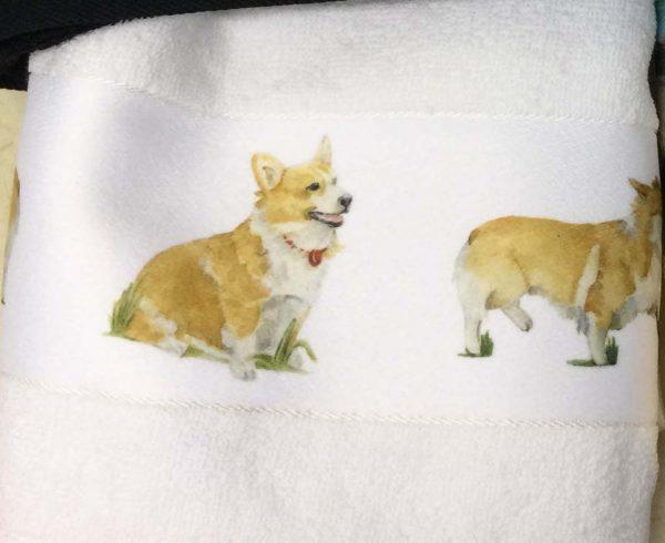 Hand towels with Corgi illustrations