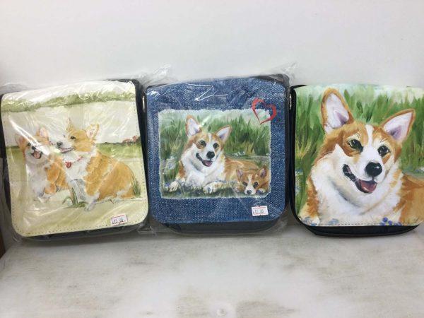 shoulder bag with Corgi illustration